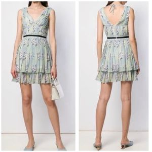 New Self-Portrait Floral Lace Chiffon Mini Dress 6